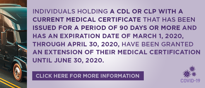 CDL/CLP Medical Certificate Information